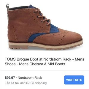 TOMS Brogue Boots, Size 8.5